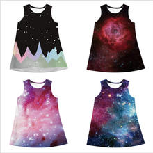 2019 Baby Girl Dress Universe Galaxy Painting Print Summer Fashion Sleeveless Clothes Children Vestidos Kids Dresses