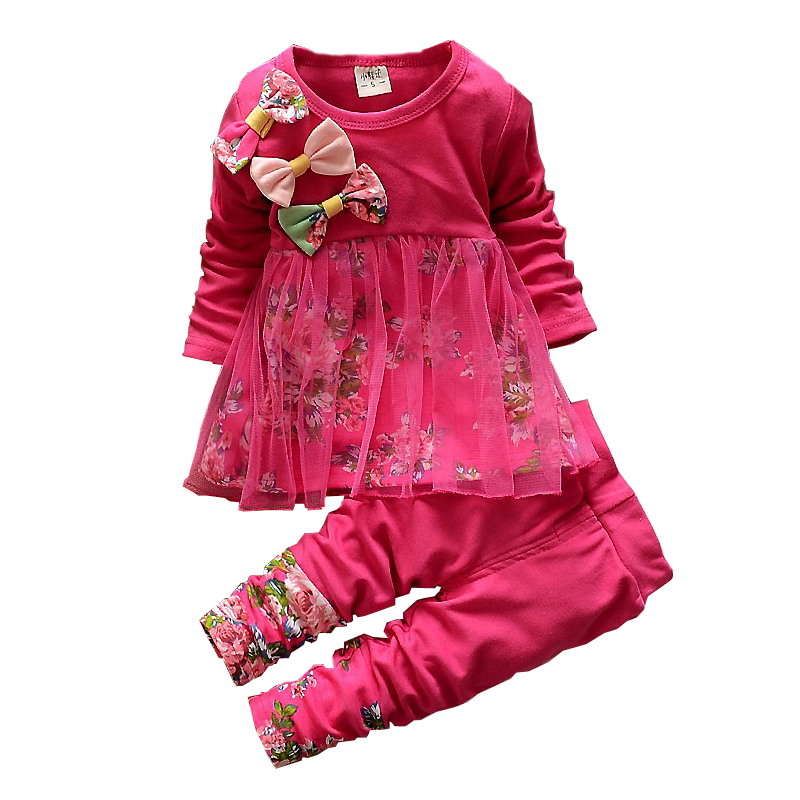 Girls Clothing Sets Fashion Baby girl Bow Mesh Gauze Print Dress And Pants Suit Kids Clothes Set Children Birthday Party Costume