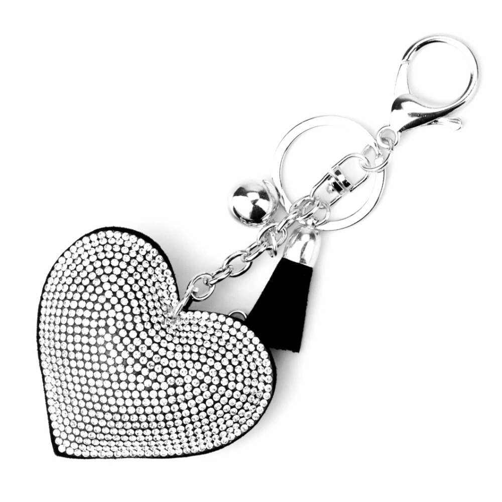 14Colors Silver Plated Heart Keychain Leather Tassel Holders Metal Crystal Key Chains Keyring Charm Bag Car Pendant Gift
