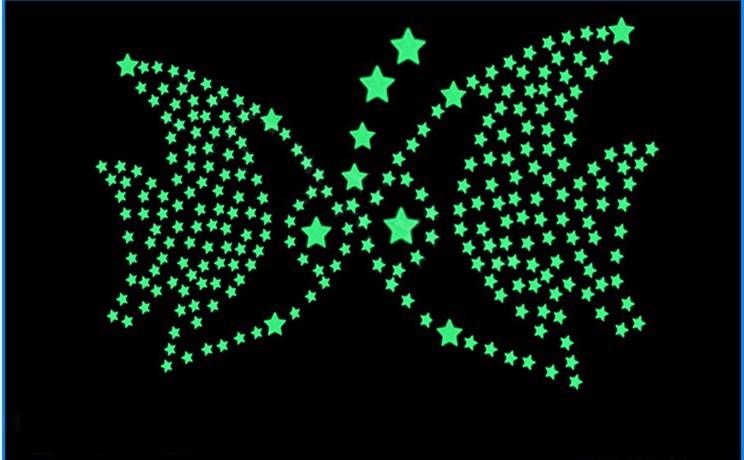 Darmowa Wysyłka Nowy Gorący 100 sztuk 3D Gwiazdy Świecą W Dark Luminous Jarzeniowe Plastikowe Naklejki Ścienne Living Home Decor Kids pokoje 15