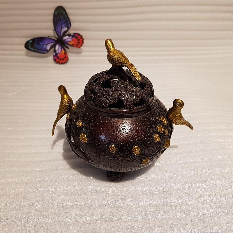 Vintage Chinese style bronze bird incense burner decoration (5)