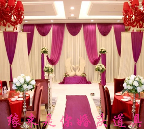 3M*6M white and grape purple Swags Hot Sale White Wedding Backdrop Stage Curtains sparki ...