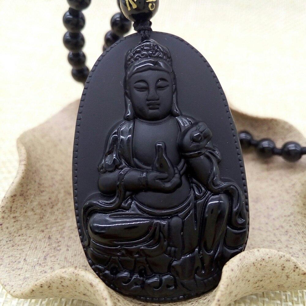 Китайский ремесленных натуральный черный обсидиан кулон китайский Будды безопасно Гуаньинь кулон Модные украшения дропшиппинг