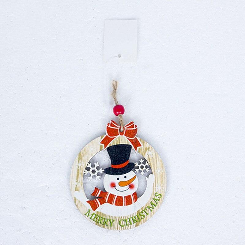 1 Pc Christmas Wooden Pendant Painted Elk Snowman Santa Claus Xmas Tree Drop Ornaments Party Hanging Decor