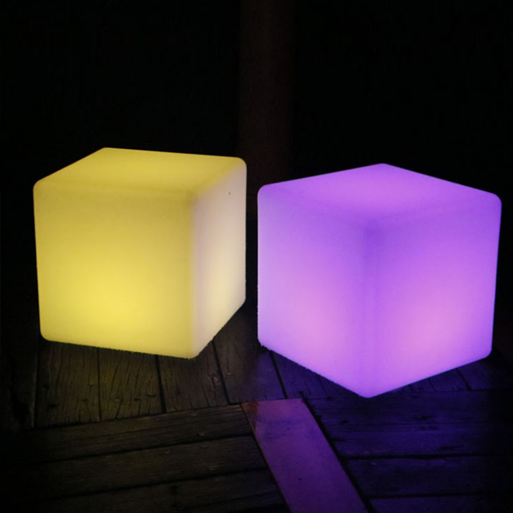 LED side stool luminous cube outdoor IP65 IP68 luminous furniture creative bar stool remote control colorful changing Size 40cm