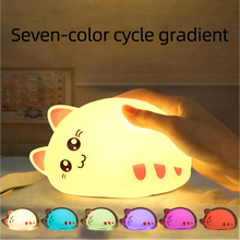 USB charging silicone LED cartoon cute cat animal night light baby bedroom breathing 7 color night light children birthday gift easter gift usb silica led cartoon night light