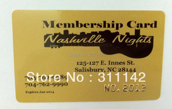 Custom gold/silver embossed sequence number PVC card with free shipping