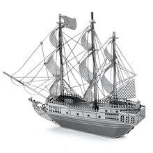 Black Pearl Sail Ship Miniature 3D Metal Model Puzzle 3D Model Building Kits Puzzle 3D Solid