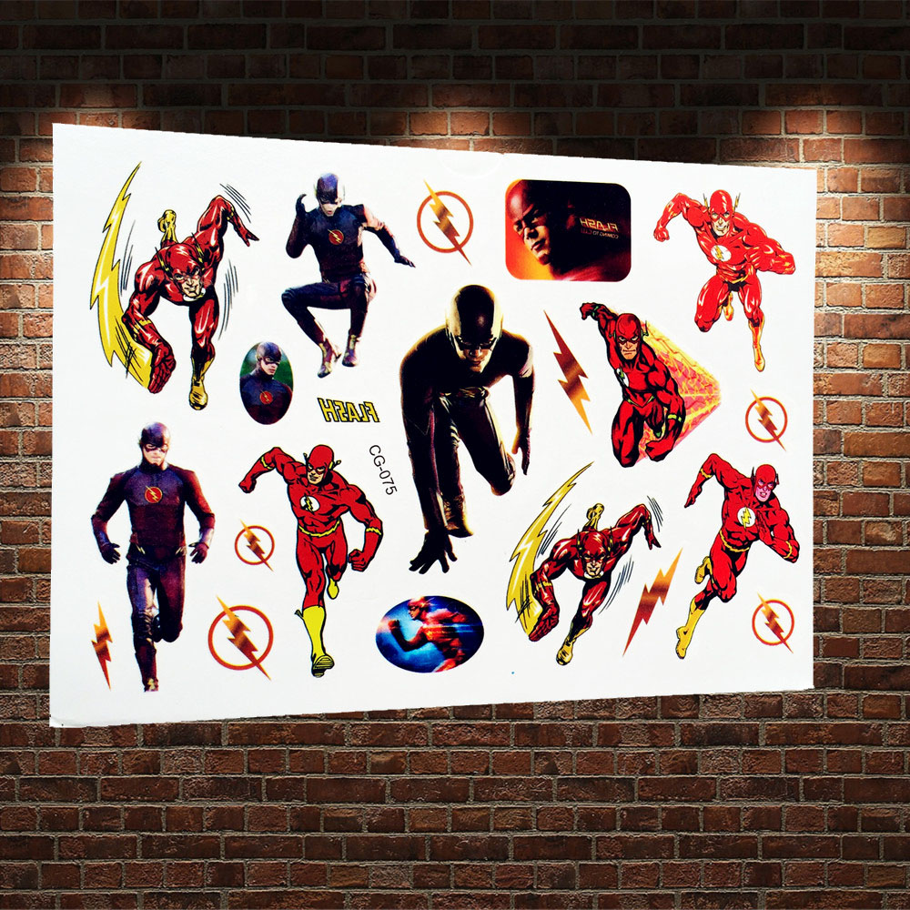 The flash man cartoon tattoo sticker superhero temporary for Superhero temporary tattoos