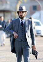 Latest Coat Pant Designs Grey Tweed Suit Men Formal Skinny Long Winter Blazer Prom Gentle Jacket Custom Style Tuxedo 3 Piece fe