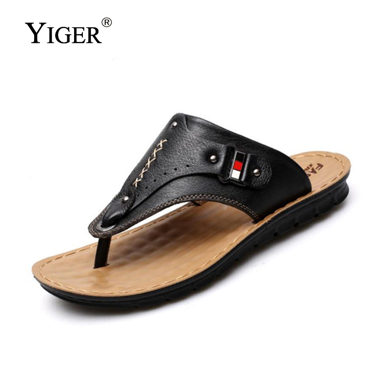 YIGER NEW  Men's Summer 100% Genuine Leather Flip Flops Breathable - Men's Shoes