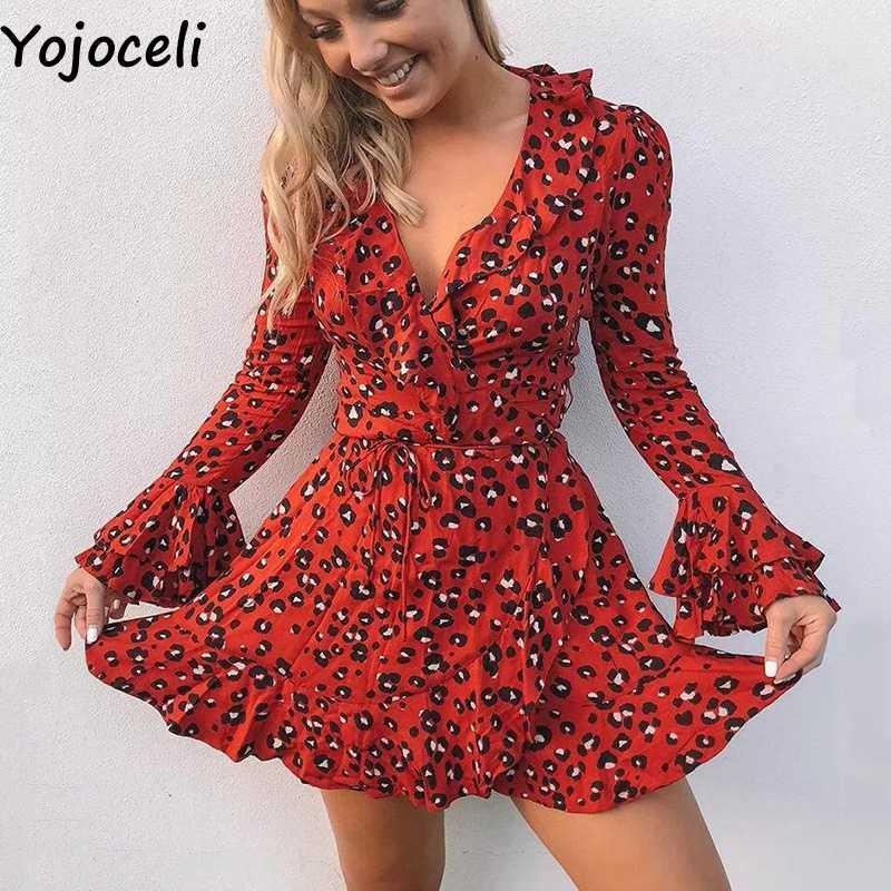 d7957d1f848 Yojoceli элегантное Плиссированное сексуальное красное леопардовое Платье  женское осеннее короткое Праздничное Платье Женское vestidos Повседневные  мини