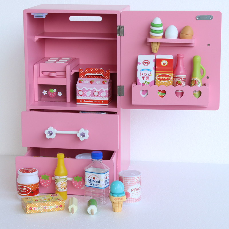 Baby Toys Pink Wooden Simulation Kitchen Single-door Refrigerator Toys Children Pretend Play Furniture Toys Birthday Toys gift baby toys montessori ed inter artificial wooden kitchen child pretend play kitchen wooden toys educationl birthday gift