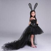 Elbise + Kafa + Kolye Siyah El Yapımı Kız Parti Elbise ile Tren Tül Şifon Bebek Kız Tutu Elbise Rahat Bebek kız Giysileri