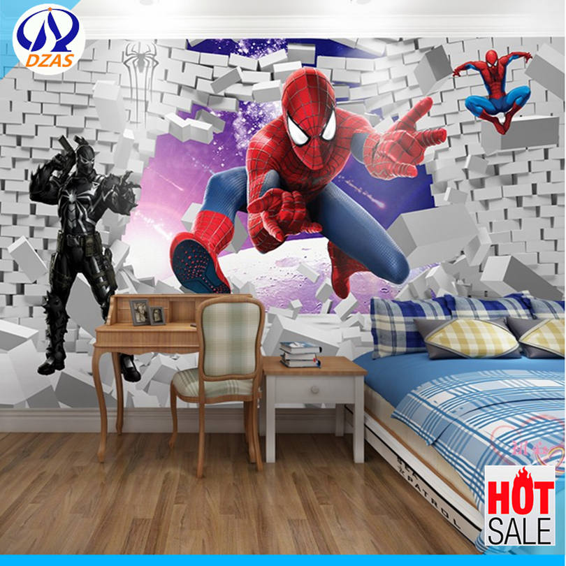 Dzas 3d Spider Man Superman Wallpaper Bedroom Childrens Room Paradise Room Wallpaper Avengers Character Mural