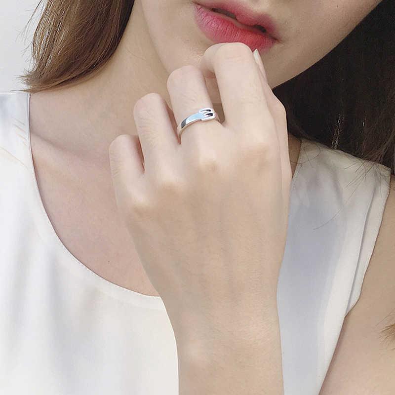 SHANICEบริสุทธิ์100%เงินสเตอร์ลิงเคลือบเข็มขัดแหวนเปิดฟรีขนาดแหวนนิ้วสำหรับU Nisexแต่งงานเครื่องประดับพรรคของขวัญวันเกิด
