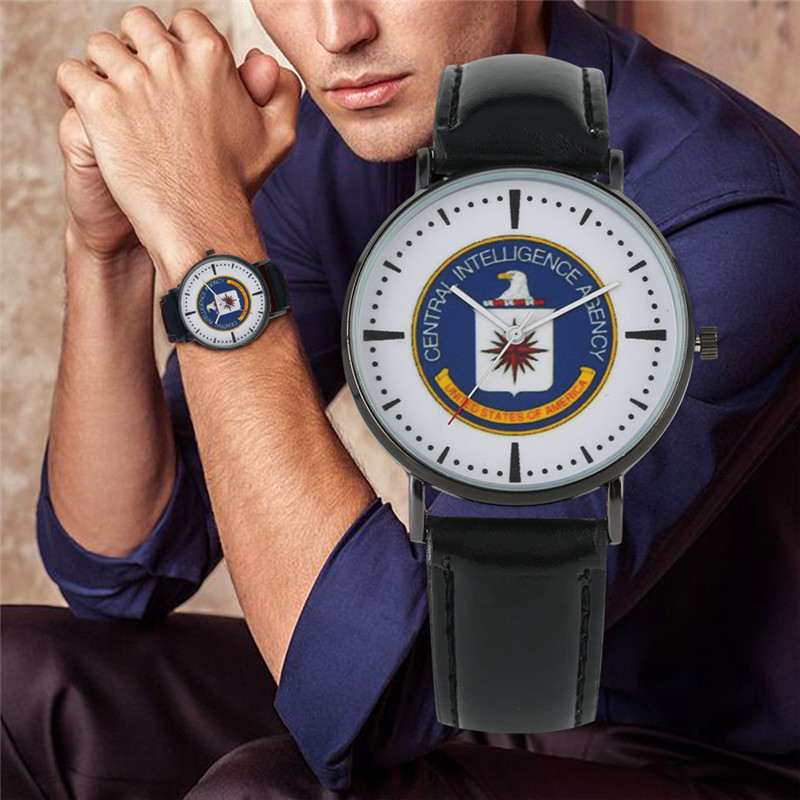 YISUYA Male Clock Wristwatch Dial Quartz Cia-Logo Leather-Band Fashion 2-Colors Horloges
