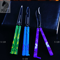 PEGASI Butterfly In Knife Titanium Coated Training Folding Knife Butterfly Not Sharp Free Butterfly Knife White