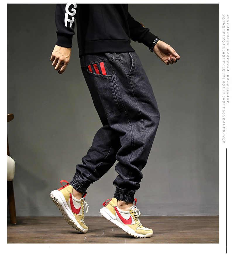 High Street Fashion Mannen Jogger Jeans Zwarte Kleur Grootte 28-42 Top Kwaliteit Losse Fit Cargo Broek Harembroek hip Hop Jeans Mannen