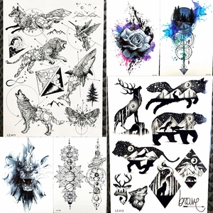Временная тату-паста для мужчин и женщин, 25 стильных сексуальных черных животных, водостойкая поддельная тату-паста