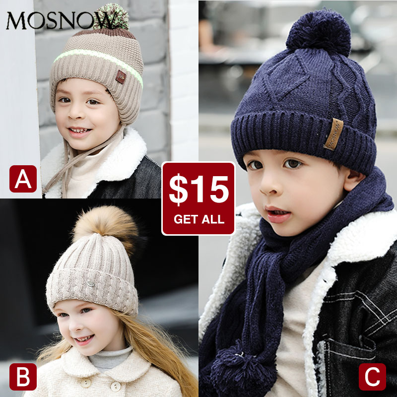 Children Hats For Winter Cap And Scarf Set Girls Pompon Beanies 3 Pieces