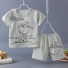ФОТО baby girl clothing set  summer children's clothing set cartoon short-sleeved shorts baby boy girl suits