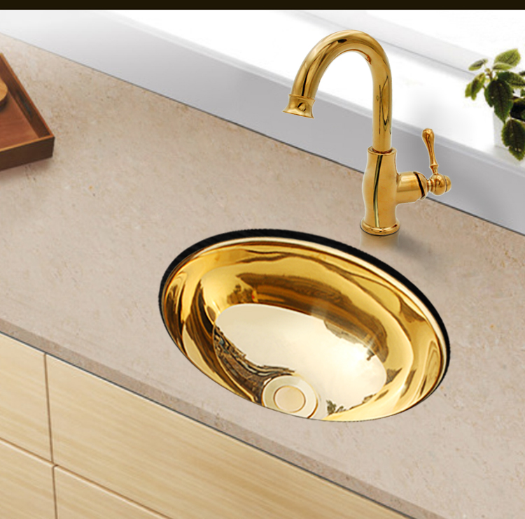 304 Stainless Steel Gold Kitchen Oval Sink And Golden Brass Faucet Mixer RV Trailer Yacht Caravan