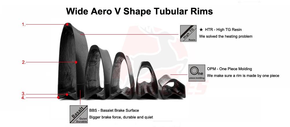 carbon tubular v shape profile