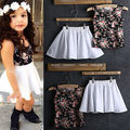 2016Baby Kids Girls Sleeveless Tops Shirt+Skirt Summer Dress Two Piece Set 2-8Y