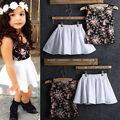 2016Baby Kids Girls Sleeveless Tops Shirt+Skirt Summer Dress Two Piece Set 2-8Y