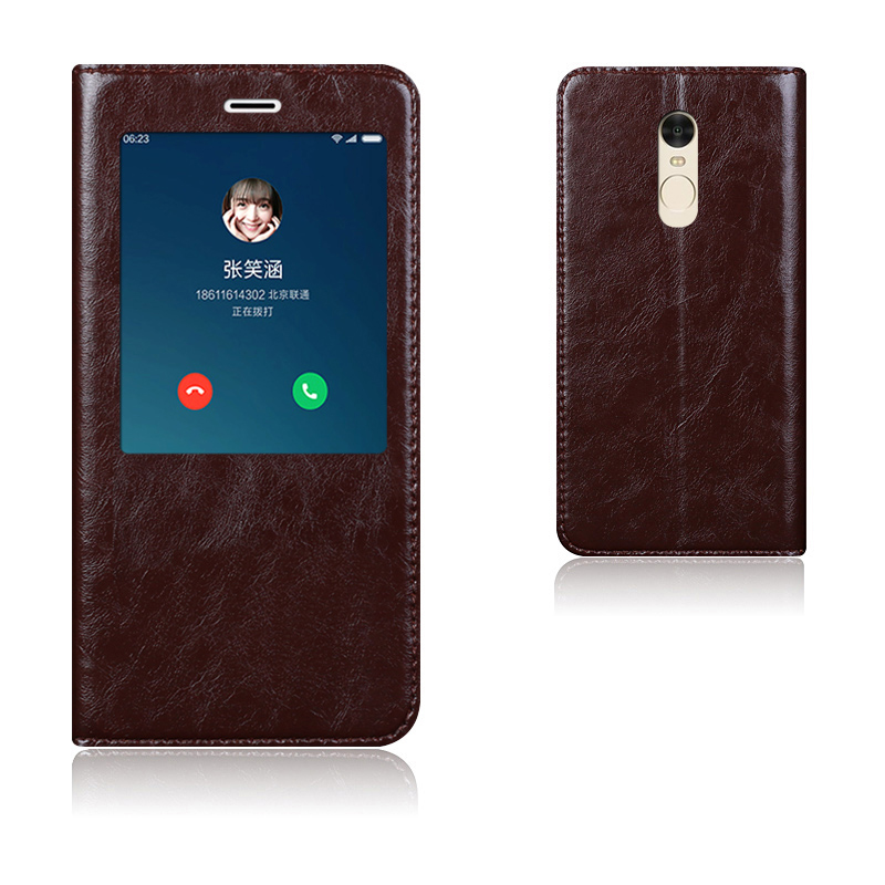imágenes para Caso de la Cubierta Elegante de Cuero Genuino de Calidad superior Para Xiaomi Redmi nota 4 Bolso Del Teléfono Móvil de Lujo Del Soporte Del Tirón + Free regalo