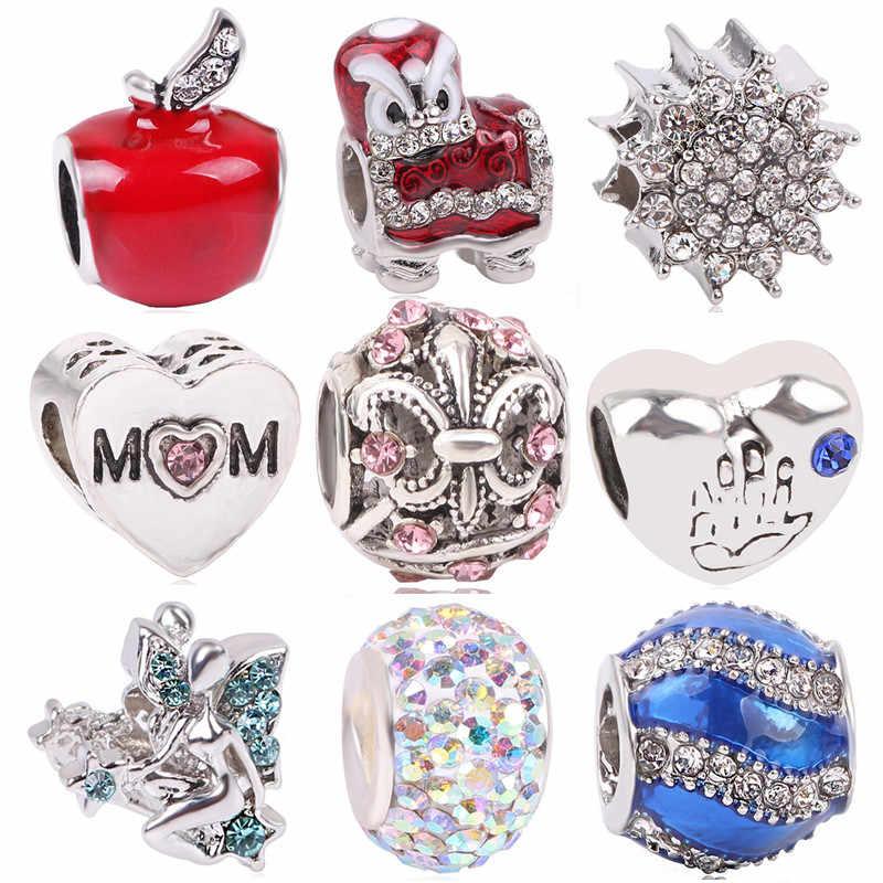 dodocharms Women Silver Color Apple Mom Palm Lion Pendant DIY Bead Charms For Pandora Bracelets & Bangles Necklace Jewelry