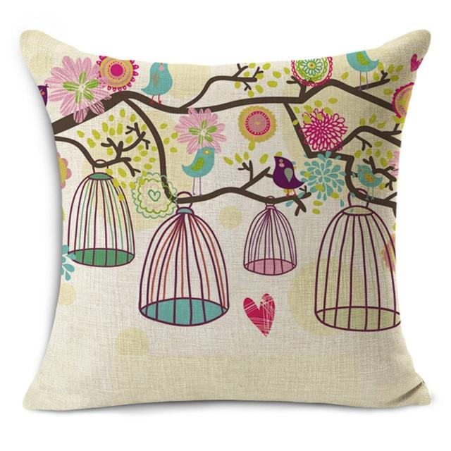Cheap Car Seat Linen Cushion Nordic Vintage Bird Parrot Outdoor Chair  Cushions Home Decor For Sofas