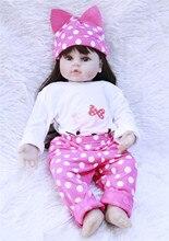 цена 60cm vinyl silicone reborn baby doll toy Long hair newborn girl babies princess  doll birthday holiday gift bedtime play house онлайн в 2017 году