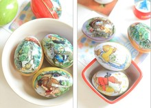 New Arrival Wholesale 200PCS/LOT Zakka Mini Tin box Easter Egg shaped wedding favor candy box storage case(China)