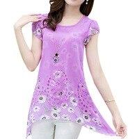 Summer Women Floral Print Long Tops Asymmetric Hem Chiffon Blouse Tee Shirt Plus Size