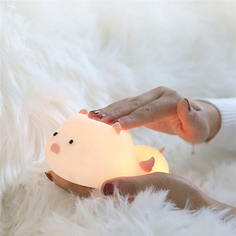 Creative Cute Pig Silicone Night Light LED Colorful Breathing baby night light nursery lamp