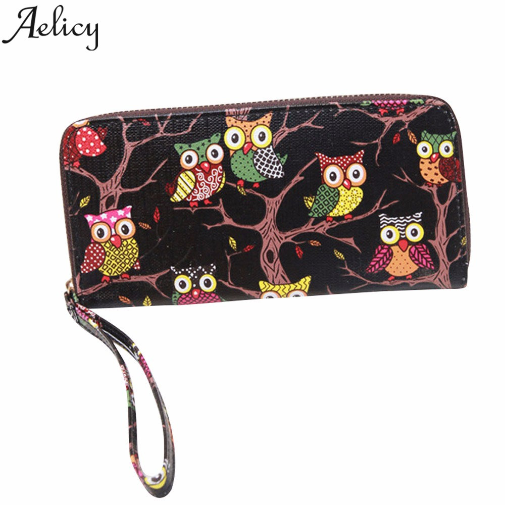 Aelicy Owl Pattern Women Wallets ID Cards Holder Lady Purses Handbags Coin Purse Long Clutch Money bags Girls Wallet Burse Bags
