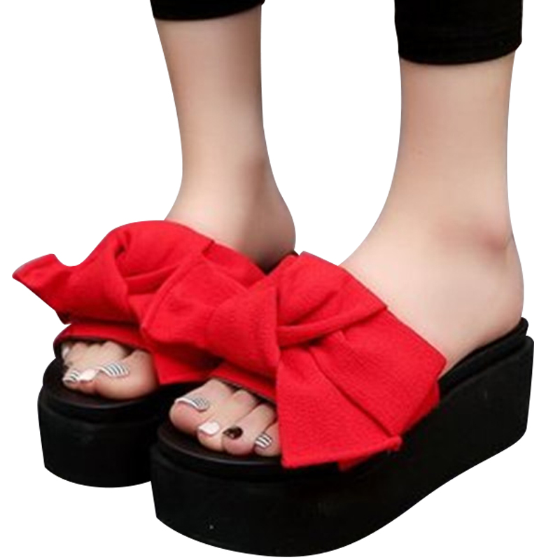 f4ec876a3f4 US $13.16 30% OFF|New Summer Sandals Women Platform Shoes Ribbon Slides  Outdoor Slippers Ladies Thick Sole Clogs Beach Flip Flops Girl Mules  Mujer-in ...