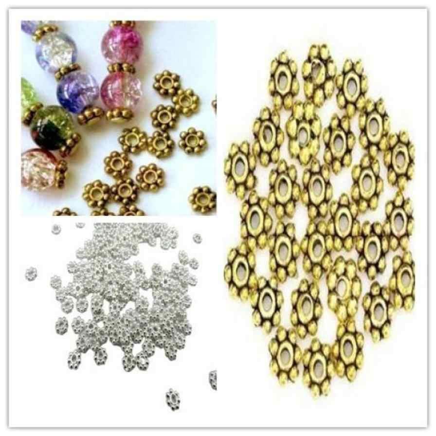 200 sztuk tybetański srebrny Daisy Spacer metalowa bransoletka koraliki 4mm tworzenia biżuterii fantastyczne akcesoria biżuteria nadgarstek komponent