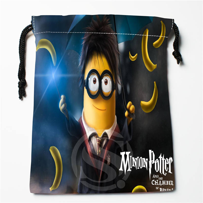 T-240 New Cute Minions &f Custom Logo Printed  Receive Bag  Bag Compression Type Drawstring Bags Size 18X22cm Y801Y240iy