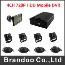 H.264 HDD 4CH 720P AHD Car DVR Mobile Video night vison car camera DVR kit