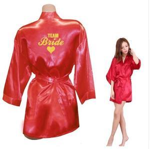 Image 3 - Kimono Robe Faux Silk Women Wedding Preparewear Bride Team Heart Golden Glitter Print Robes Bachelorette Pajamas Free Shipping
