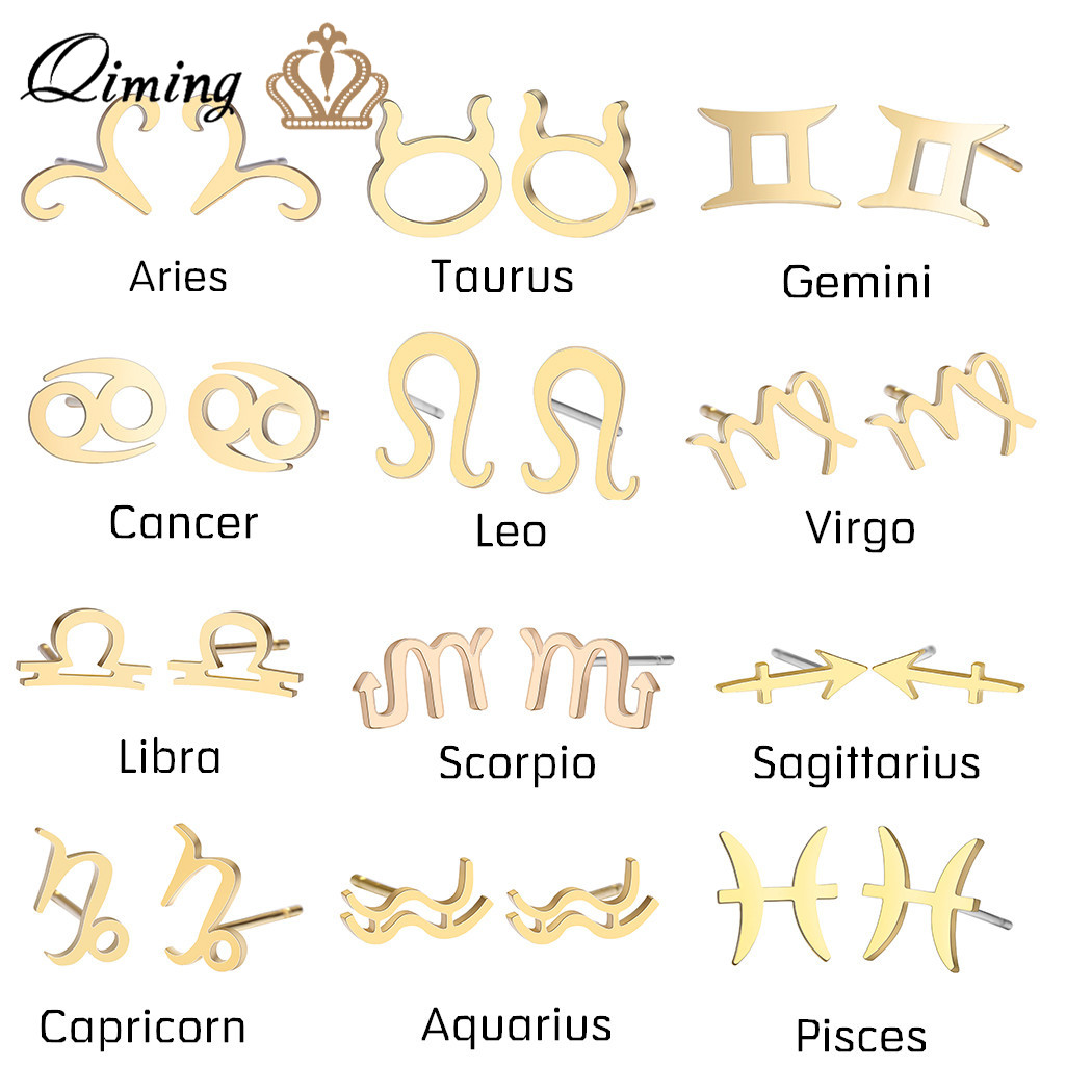 12 Constellation Stud Earrings for Women Zodiac Sign Stainless Steel Jewelry Astrology Leo Libra Aries Gold Earrings Female Gift