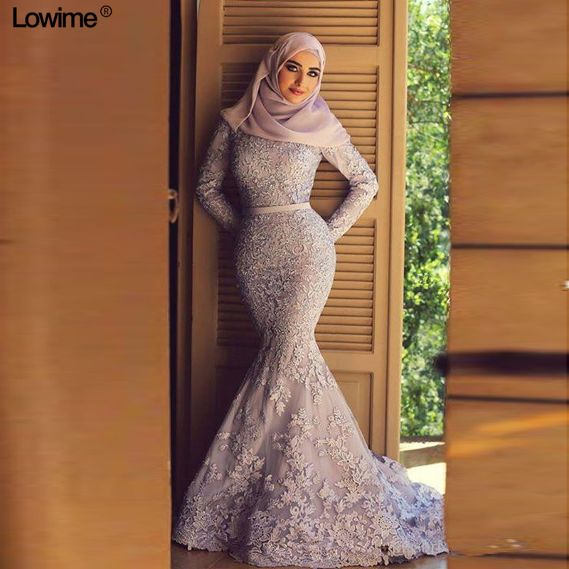 Muslim   Evening     Dresses   2018 Mermaid Long Sleeves Appliques Lace Scarf Islamic Dubai Saudi Arabic Long Elegant   Evening   Gowns