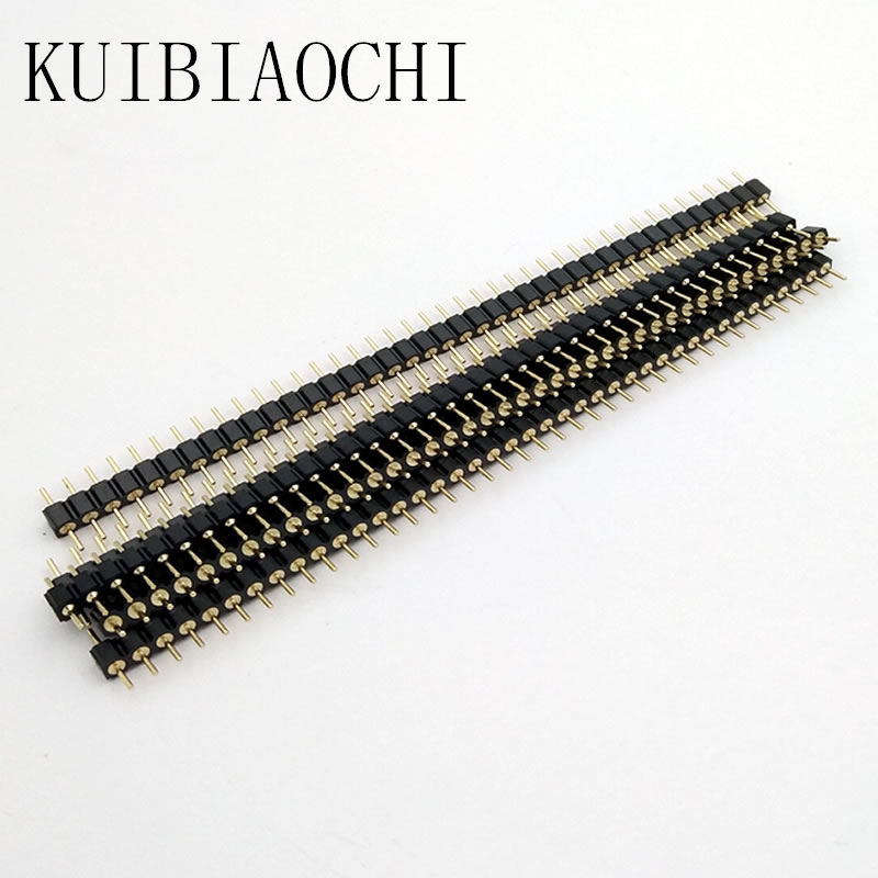 5pcs/LOT 40 Pin Connector Header Round Needle 1x40 Golden Pin Single Row Male 2.54mm Breakable Pin Connector Strip