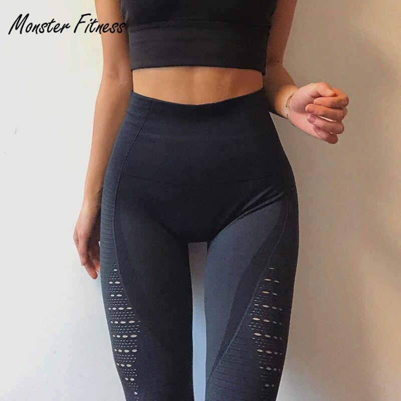 2018 súper elástico gimnasio medias energía Seamless Tummy Control Yoga pantalones alta cintura deportiva Leggings púrpura correr pantalones mujeres