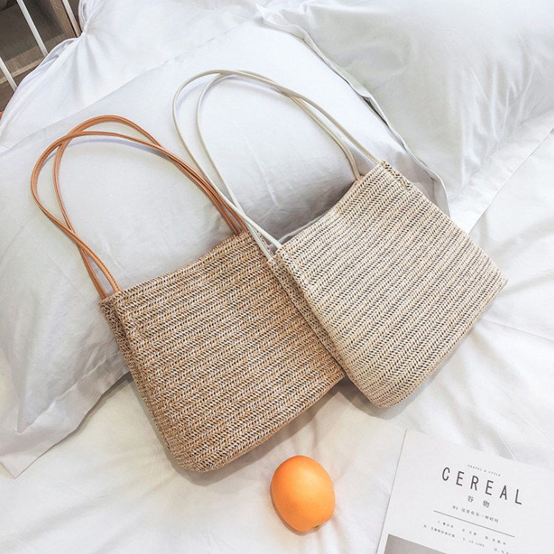 цена на Japan style Women Bag Large Straw Bag For Women Art Beach Bag Travel Pictures Props Straw Bag New