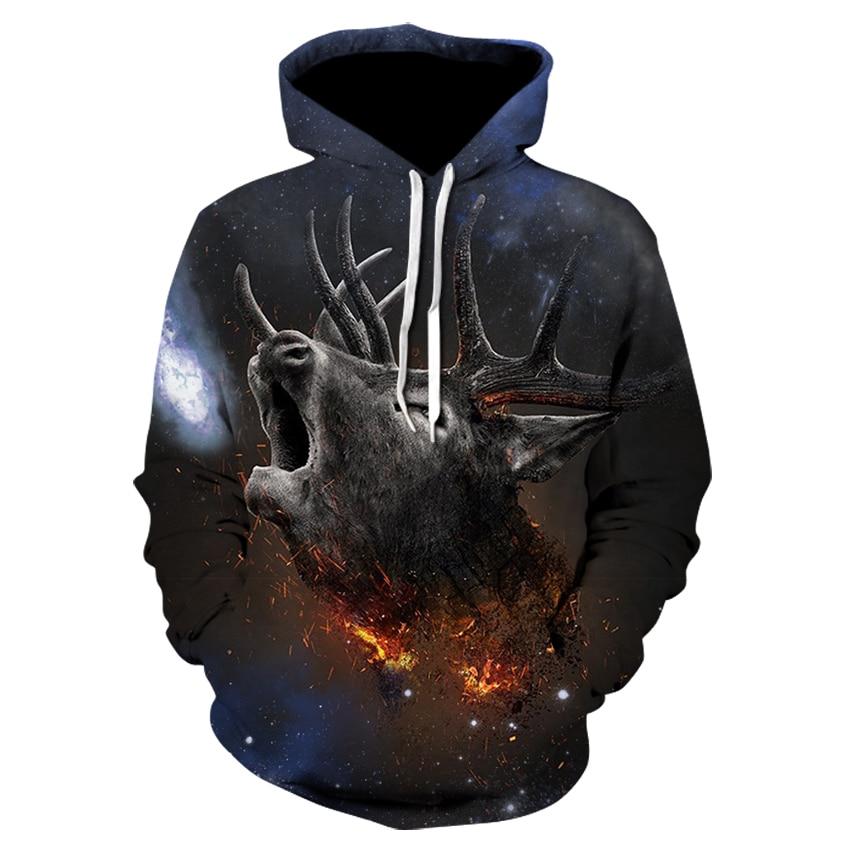 Deer Printed 3D Hoodie Animal Men Women Sweatshirt Hoodie Pullover Tracksuit