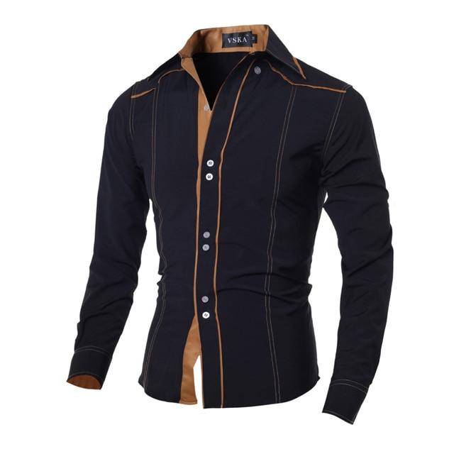 Hot 2018 New Brand Men Casual shirt Slim Fashion Men Shirts Long-Sleeved  Chemise Homme 7b4f9a91fdbc5